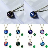 Glow In the Dark Universe Nebula Space Ball Glass Pendant Necklace Women Jewelry