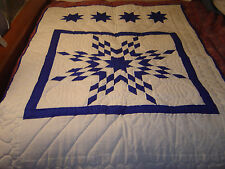 "AMISH WHITE-ROYAL LONE STAR WALLHANGING QUILT SIZE 42""- 58"""