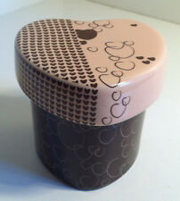 CERAMIC PINK AND BROWN PARTYLITE HEART SHAPED VOTIVE CANDLE HOLDER TRINKET BOX