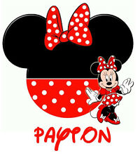 DISNEY MICKEY MINNIE MOUSE RED POLK A DOT PERSONALIZED T-SHIRT IRON ON TRANSFER