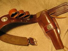 Western cowboy holster & gunbelt for 1851 Colt Navy black powder revolver.