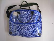 """Diaper Bag by Baby Giggles, Boy, Blue w/White Roses, 15""""x11""""x5"""", New"""