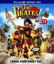 The Pirates Band of Misfits (Blu-ray, 3D, DVD) + Lenticular Slipcover Like New