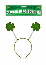 GREEN CLOVER SHAMROCK LEAF HEAD BOPPER IRISH ST PATRICKS DAY FANCY DRESS. 5d9b80519892