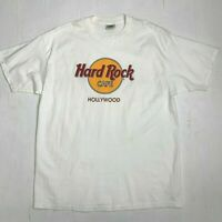 Vintage 90s Hard Rock Cafe Hollywood California Plain White T Shirt Mens Size XL