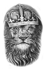 Waterproof Temporary Tattoo Stickers Vintage Grey Lion King Royal Big Design
