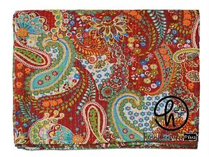 Red Color Cotton Kantha Quilt Indian Paisley Bedspread King Size Throw Bed Cover