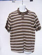 Foot Locker Men's Brown Tan Beige White Stripe Polo Shirt Size XL