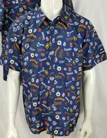 San Diego Padres MLB Blue Hawaiian Men's XL Xlarge Shirt Graphic Logo Polyester
