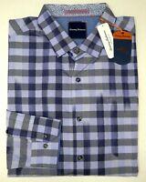 NWT $145 Tommy Bahama Blue Plaid Long Sleeve Mens Size L XL XXL Cotton Gingham
