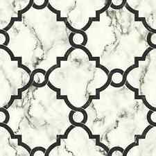 Wallpaper Designer Black Arabesque Trellis on Black and White Faux Marble