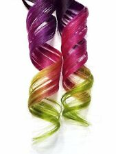 2x Rainbow Clip in Human Hair Extensions Purple Hair Magenta Red Pink Lime Green