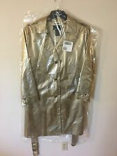 Dennis Basso Rain Coat Embossed Snake Gold Champagne Trench Jacket  QVC 2X New