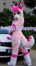 Professional Long Fur pink Husky Mascot Costume Fox Dog Adult Fancy Suit Unisex