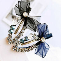 Fashion Girls Crystal Bowknot Clip Snap Barrette Hairpin Bobby Hair Accessories