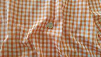 "Orange & White 1/4"" Woven Gingham check fabric material - 1 full metre"