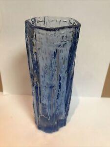 Ravenshead Blue Bark Glass Vase - 17cm - 1970's