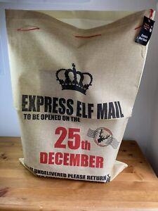 "Reusable Large Hessian style drawstring ""Santa's Mail"" Present Sack"