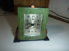 JAZ DESK CLOCK HORLOGE VOYAGE TABLE vintage rare metal ancien green retro alarm
