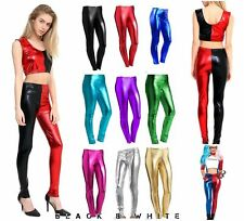 New Ladies American Foil Shiny leggings Disco Dance Stretch PVC Wet Look UK 8-26