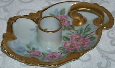 Antique Hand Painted Signed Candle Holder w Heavy Gilt