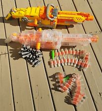 Lot of 2 Nerf Vulcan EBF-25 Machine Dart Guns Ammo Belt N-Strikes Clear/Yellow