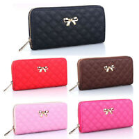 Women Bowknot Quilted Leather Clutch Wallet Card Phone Holder Long Purse Handbag