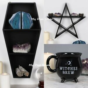 Witches Brew Cauldron Mug Coffin Shelving Display Pentagram Star Wall Art Shelf