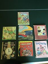 7 Vintage Children's Books Golden Book & See Hear Read Book & Record 40s 50s 60s