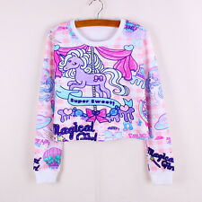 Little Pony on Carousel Ladies Cropped Sweatshirt Top Harajuku Style Fashion