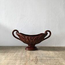 More details for vintage devonway kingsbridge mantle vase brown high gloss double handles vgc