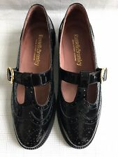 Russell & Bromley T-BAR Mary Jane Black Patent Leather Brogue Flats Shoes 38/5
