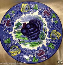 """WOOD & SONS BURSLEM ENGLAND TURKEY BLUE MULTICOLOR DINNER PLATE 10"""""""