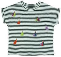 Girls Stripe Rainbow Tassel Cotton T-Shirt Summer Fashion Top 4 to 16 Years