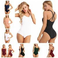 Adult Women Spaghetti Shoulder Straps Sleeveless Ballet Leotard Dance Gymnastics