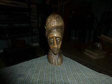 "Vintage Carved FOLK ART Sculpture Statue BUST Carving 10"" Unknown Origin Unique!"