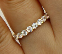 1.5 Ct 14K Real Yellow Gold Round Eternity Endless Wedding Anniversary Ring Band