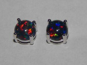 Gorgeous Black Cherry Fire Opal Stud Earrings 6mm