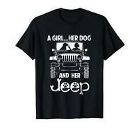 A girl her dog and her jeep dog paw jeep Cute Funny Black T-Shirt S-3XL