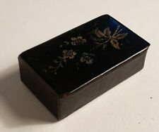 Rare antique/vintage papier mache lacquered wood gold flower design snuff box