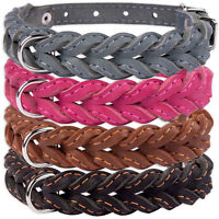 Braided Dog Collar Leather Collars for Dogs Puppy Small Medium Pink Black Brown