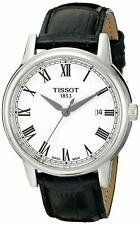 Tissot Men's Carson White Dial Black Leather Watch - T0854101601300 NEW