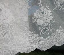 "VINTAGE ROMANTIC POLYESTER WHITE CURTAIN ROSES/SCALLOP HEM W37""XL 312""(7.8M)"