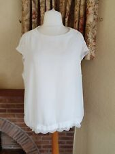 LADIES CREAM IVORY LACE DETAIL BOXY SHEER  TOP FROM NEXT - SIZE 20 PLUS