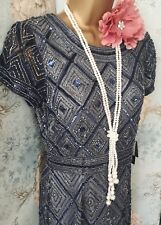 adrianna papell navy silver 20s gatsby deco bead prom ball bride evening dress 8