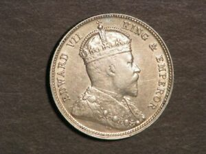 STRAITS SETTLEMENTS 1903 20 Cents Silver XF-AU - Scarce Type