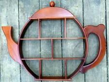Vintage Teapot Shaped Wooden Curio Shelf 19.5 X 25 in. 1 3/4 in. deep Good Cond