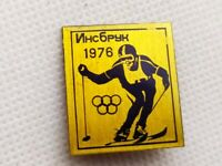 Vintage Soviet Pin Badge Winter Olympic Games,Innsbruck 1976,Skiing,USSR