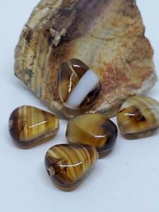 Beautiful Porphyr Brown & White Stripe Vintage Glass Beads DIY Fall Jewelry