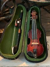 Vintage Miniature Dollhouse Artisan Sculpted Carved Old Wood Violin Black Case